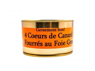 4 coeurs de canard fourrés au foie gras